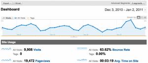 Google Analytics Dashboard Showing Tags